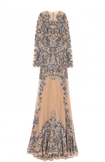Приталенное платье-макси с вышивкой Zuhair Murad