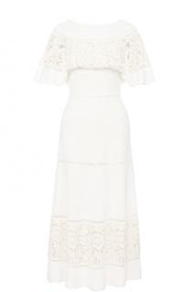 Шелковое платье с кружевной отделкой и круглым вырезом Valentino