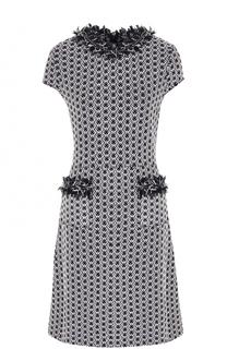 Приталенное буклированное платье с бахромой St. John