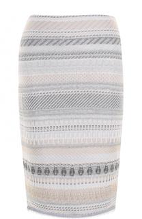 Вязаная юбка-миди с бахромой St. John