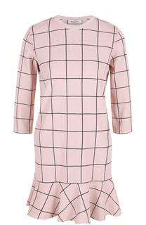 Мини-платье в клетку с оборкой Valentino