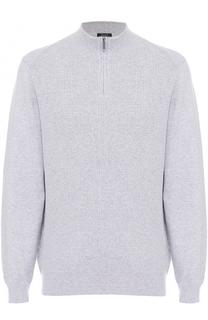 Хлопковый свитер фактурной вязки с воротником на молнии BOSS