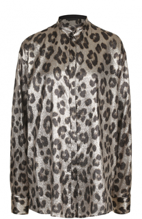 Шелковая блуза свободного кроя с леопардовым принтом Haider Ackermann