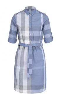 Платье-рубашка в клетку с поясом Burberry