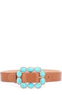 Кожаный ремень с декорированной пряжкой Roberto Cavalli