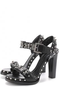 Кожаные босоножки с заклепками на устойчивом каблуке Alexander McQueen