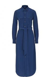 Шелковое платье-рубашка с поясом Polo Ralph Lauren