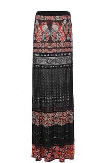 Вязаная юбка-макси с прозрачными вставками Roberto Cavalli
