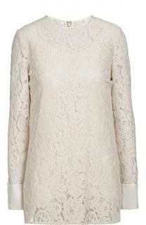 Кружевная блуза прямого кроя с круглым вырезом Lanvin