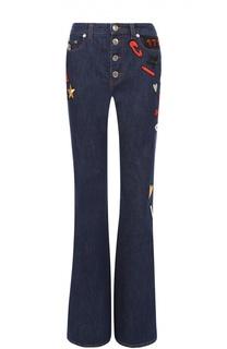 Расклешенные джинсы с завышенной талией и яркими нашивками Sonia Rykiel