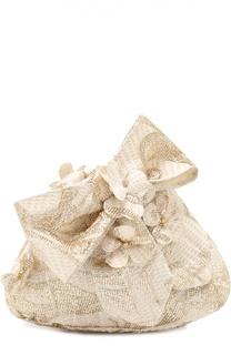 Сумка из текстиля с цветочной аппликацией David Charles