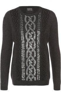 Пуловер прямого кроя с контрастной вышивкой пайетками Markus Lupfer