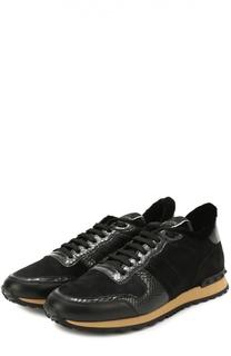 Кожаные кроссовки Rockrunner с отделкой из натурального меха Valentino