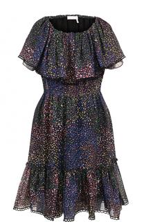Приталенное платье с открытыми плечами и с принтом Chloé