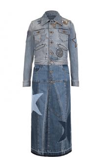 Приталенное джинсовое пальто с аппликациями Roberto Cavalli