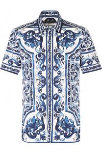 Хлопковая рубашка с короткими рукавами с  принтом Dolce & Gabbana