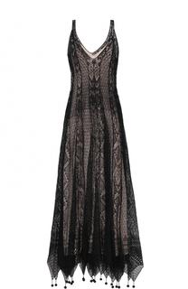 Вязаное шелковое платье с декоративной отделкой Alexander McQueen