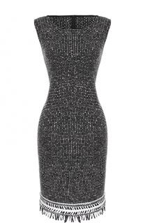 Приталенное вязаное платье с бахромой St. John