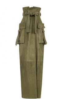 Замшевая юбка с накладными карманами Balmain