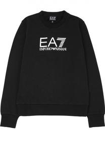 Хлопковая толстовка с логотипом бренда Ea 7