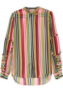 Шелковая блуза в контрастную полоску с воротником-аскот No. 21