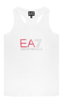 Хлопковая майка с логотипом бренда Ea 7