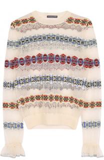 Шелковый полупрозрачный пуловер с круглым вырезом Alexander McQueen