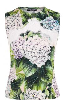 Кашемировый топ с цветочным принтом и кружевными вставками Dolce & Gabbana