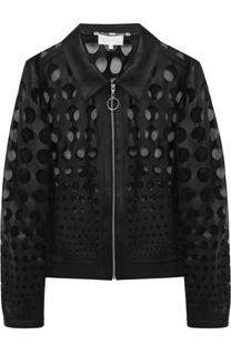 Кожаная куртка на молнии с перфорацией Escada Sport