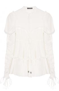 Блуза свободного кроя с рукавом-фонарик и драпировкой Alexander McQueen