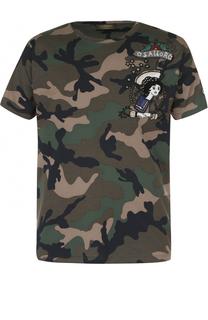 Хлопковая футболка с камуфляжным принтом и вышивкой Valentino