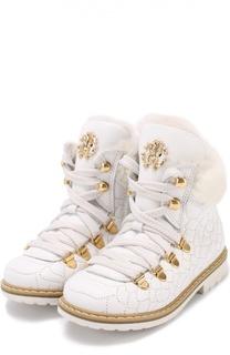 Кожаные ботинки с прострочкой Roberto Cavalli