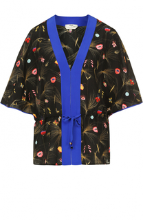 Шелковая блуза с V-образным вырезом и цветочным принтом Fendi
