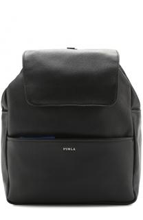 Кожаный рюкзак с клапаном и внешним карманом на молнии Furla