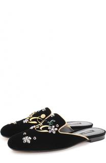 Бархатные сабо с вышивкой и кристаллами Dolce & Gabbana