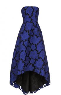 Кружевное платье-бюстье с удлиненным подолом Oscar de la Renta