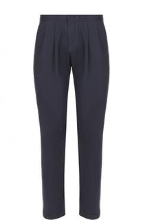Хлопковые брюки прямого кроя с поясом а резинке BOSS