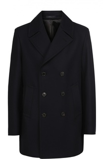 Укороченное двубортное пальто из смеси шерсти и кашемира Armani Collezioni