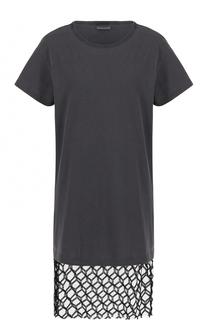 Удлиненная футболка с кружевной вставкой Dries Van Noten