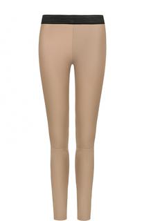 Кожаные брюки-скинни с контрастным поясом DROMe