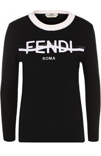 Вязаный пуловер с логотипом бренда Fendi