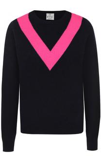 Пуловер с круглым вырезом и контрастной отделкой FTC