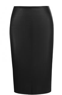 Кожаная юбка-карандаш с разрезом DROMe