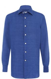 Льняная рубашка с воротником кент Kiton
