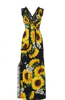 Приталенное платье-макси с цветочным принтом Dolce & Gabbana