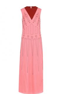 Шелковое платье-макси с круглым вырезом Valentino