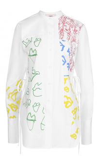 Блуза прямого кроя с воротником-стойкой и высокими разрезами Ports 1961