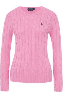 Приталенный вязаный пуловер с вышитым логотипом бренда Polo Ralph Lauren