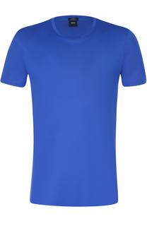 Хлопковая футболка с круглым вырезом BOSS