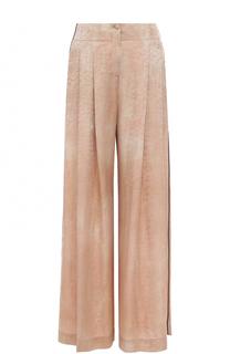 Шелковые брюки с фактурной отделкой и защипами Raquel Allegra